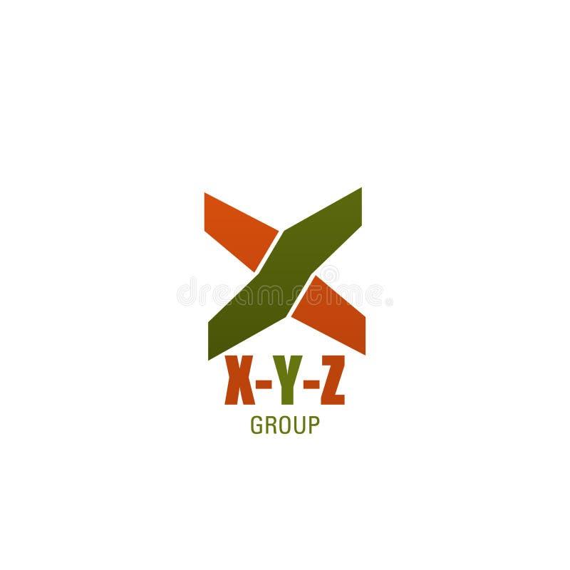 Значок письма X y z вектора деловой компании иллюстрация вектора