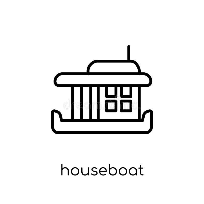 значок плавучего дома от собрания транспорта иллюстрация штока