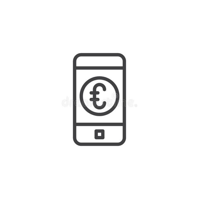 Значок плана банка евро мобильный иллюстрация вектора