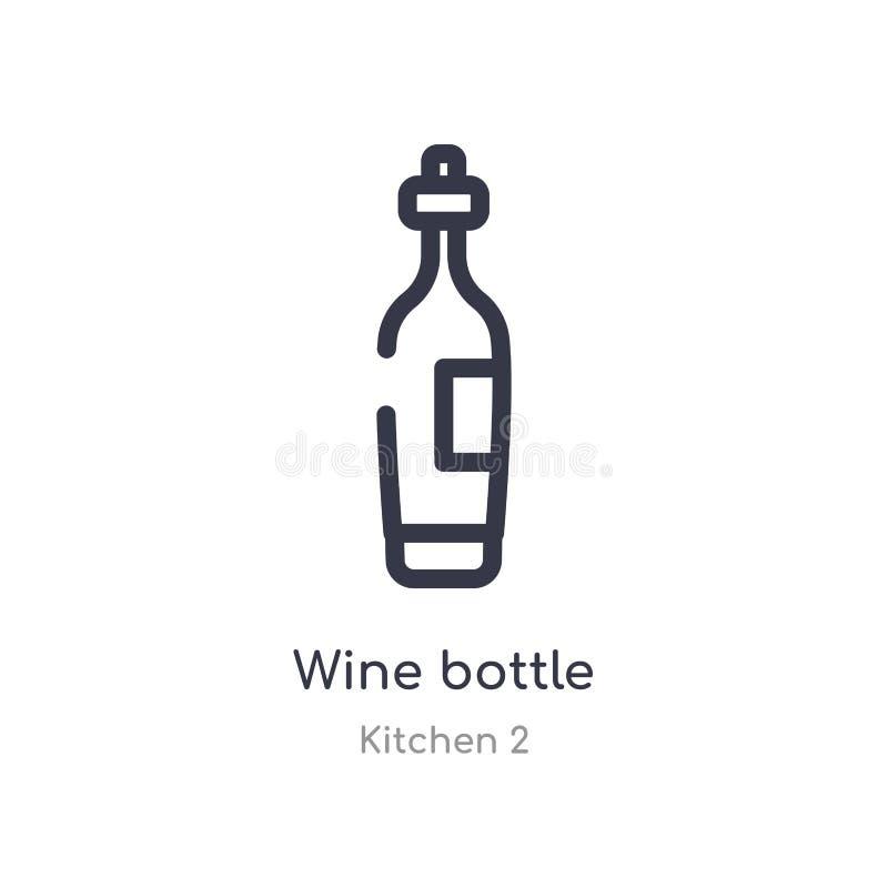 значок плана бутылки вина изолированная линия иллюстрация вектора от собрания кухни 2 editable тонкий значок бутылки вина хода да иллюстрация штока