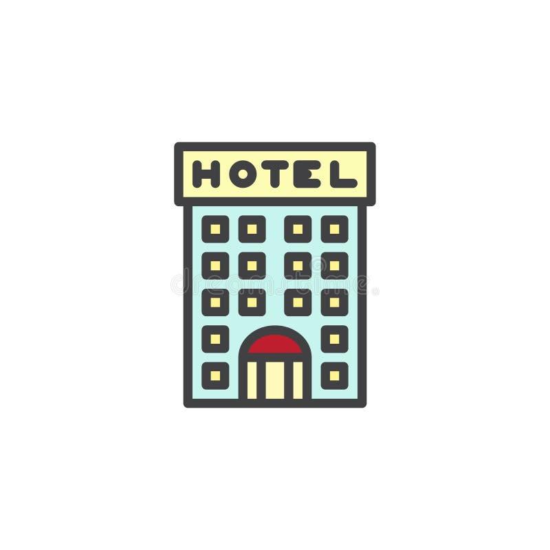 Значок плана гостиницы заполненный зданием бесплатная иллюстрация