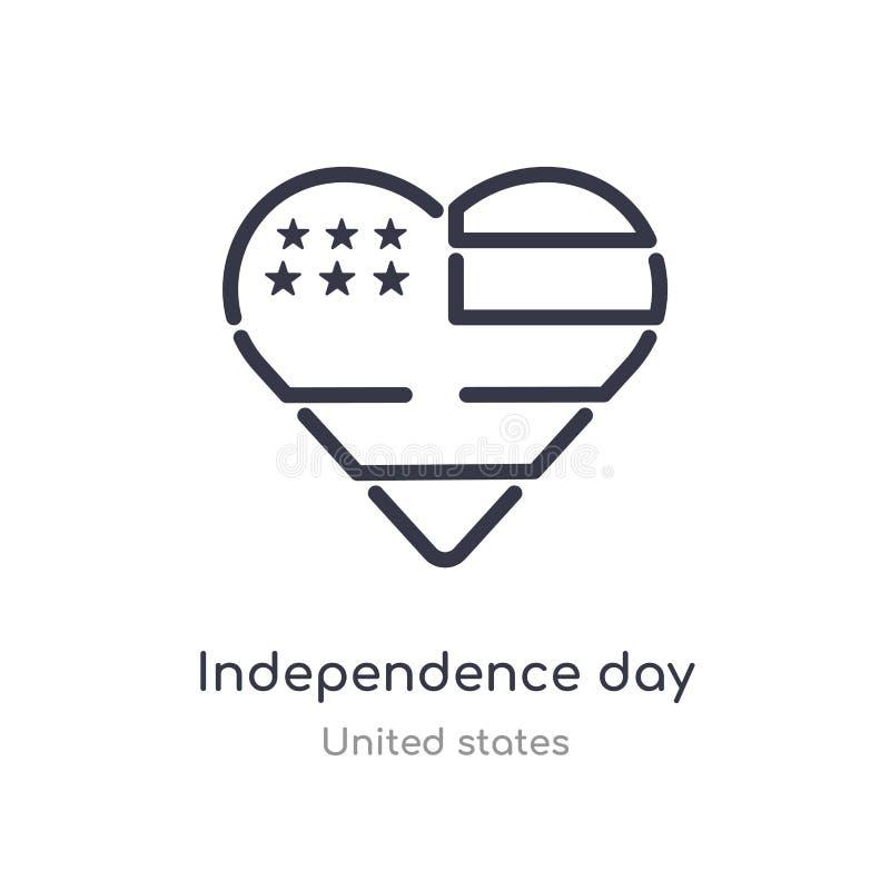 значок плана Дня независимости изолированная линия иллюстрация вектора от собрания Соединенных Штатов editable тонкая независимос иллюстрация вектора