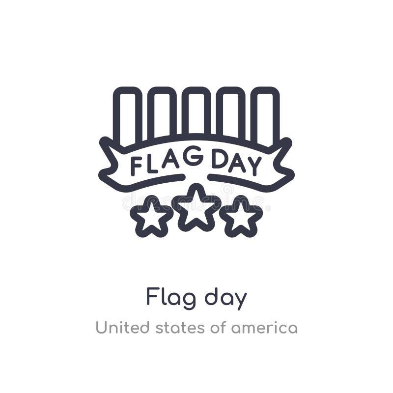 значок плана Дня флага изолированная линия иллюстрация вектора от собрания Соединенных Штатов Америки editable тонкий День флага  иллюстрация штока
