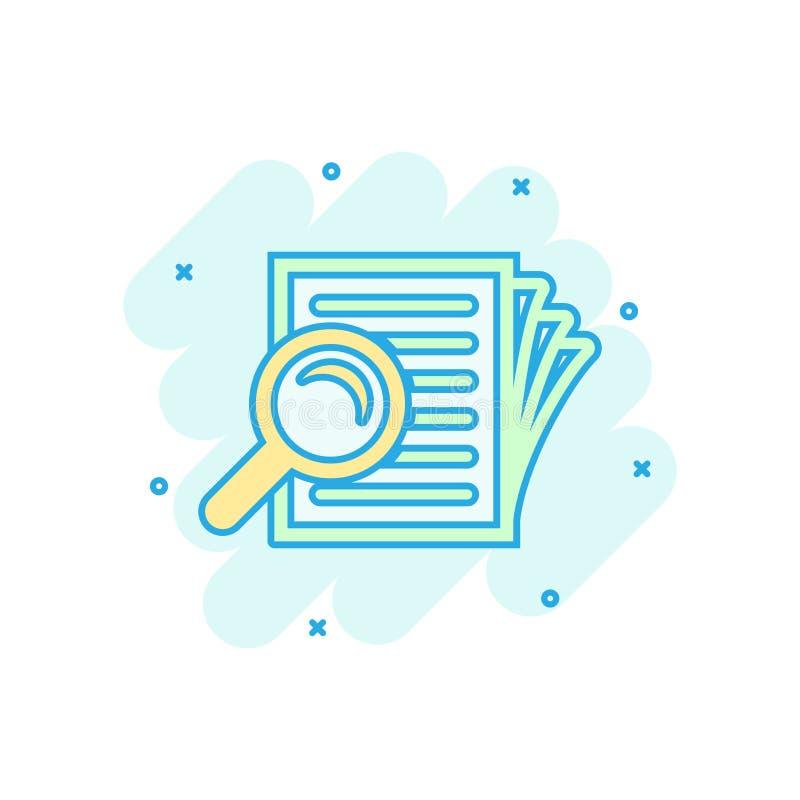 Значок плана документа вникновения в шуточном стиле Пиктограмма иллюстрации мультфильма вектора заявления обзора Документ с loupe иллюстрация штока