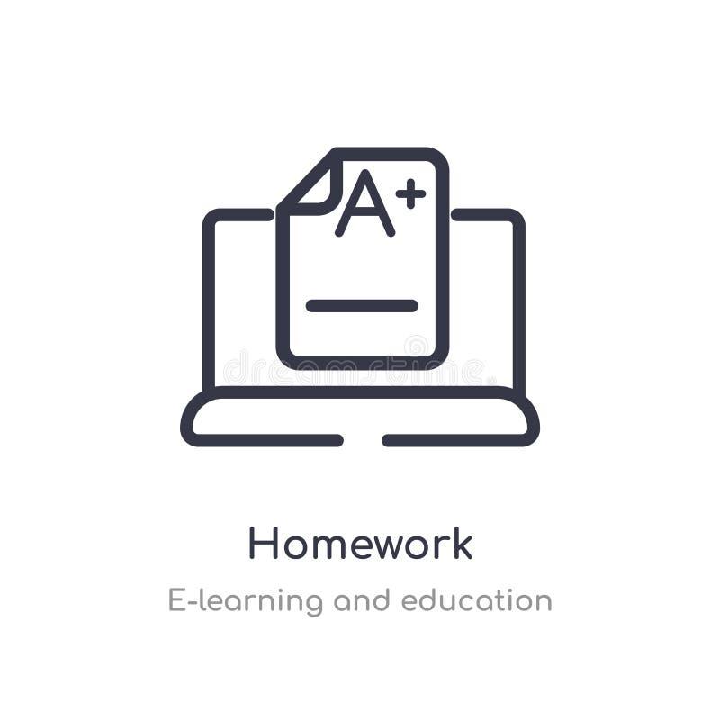 значок плана домашней работы изолированная линия иллюстрация вектора от собрания обучения по Интернету и образования editable тон бесплатная иллюстрация