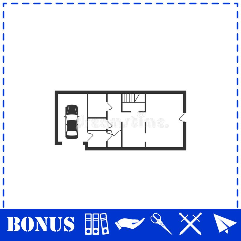 Значок плана дома плоско иллюстрация штока