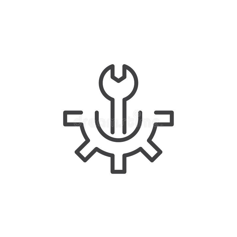 Значок плана ключа и шестерни иллюстрация вектора
