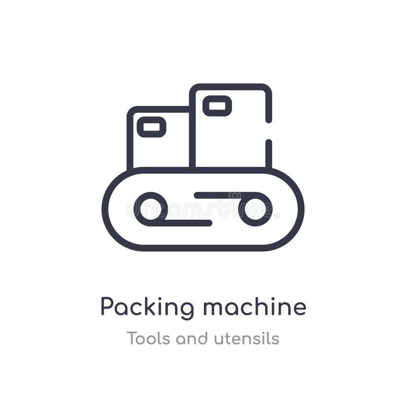 значок плана машины упаковки изолированная линия иллюстрация вектора от собрания инструментов и утварей editable тонкая упаковка  иллюстрация штока