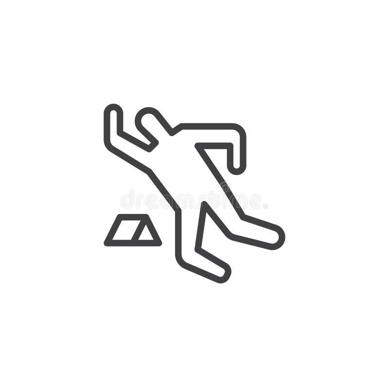 Значок плана мела покойника иллюстрация вектора
