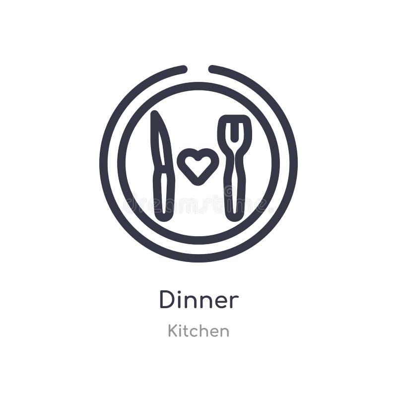 значок плана обедающего изолированная линия иллюстрация вектора от собрания кухни editable тонкий значок обедающего хода на белиз иллюстрация штока