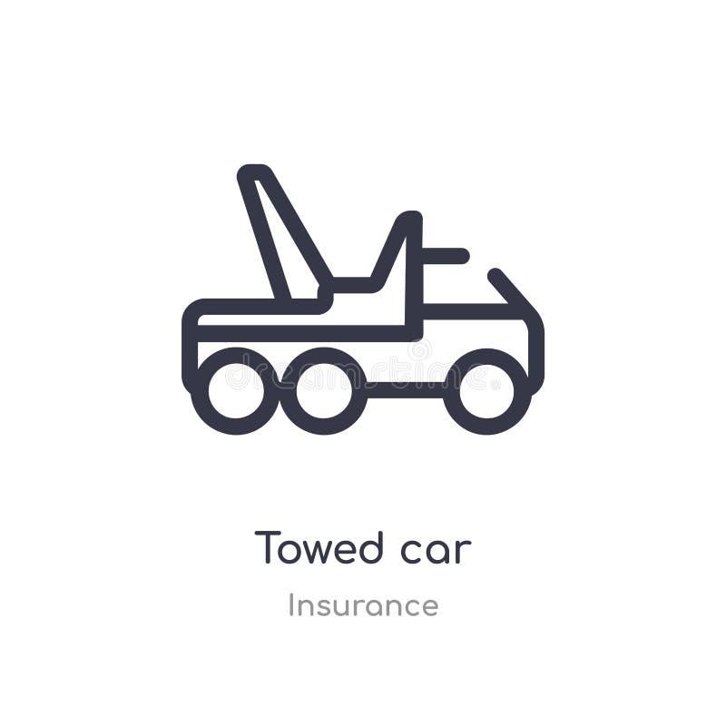 значок плана отбуксированного автомобиля изолированная линия иллюстрация вектора от собрания страхования editable тонкий значок о иллюстрация штока