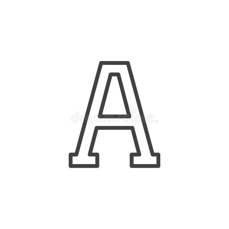 Значок плана письма альфы иллюстрация вектора