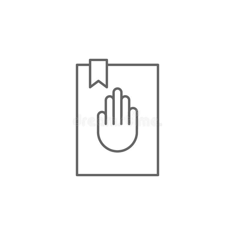 Значок плана присяги правосудия Элементы линии значка иллюстрации закона Знаки, символы и s можно использовать для сети, логотипа иллюстрация вектора