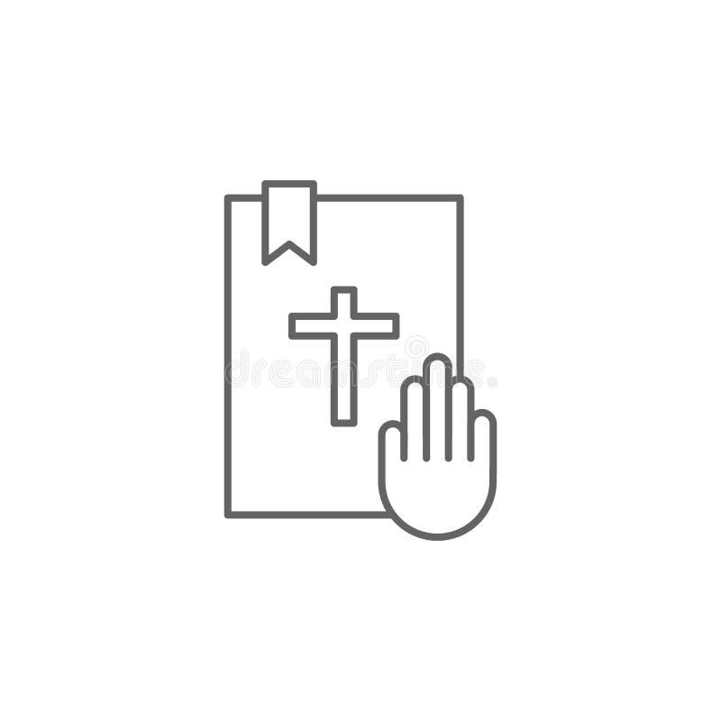 Значок плана присяги правосудия Элементы линии значка иллюстрации закона Знаки, символы и s можно использовать для сети, логотипа бесплатная иллюстрация