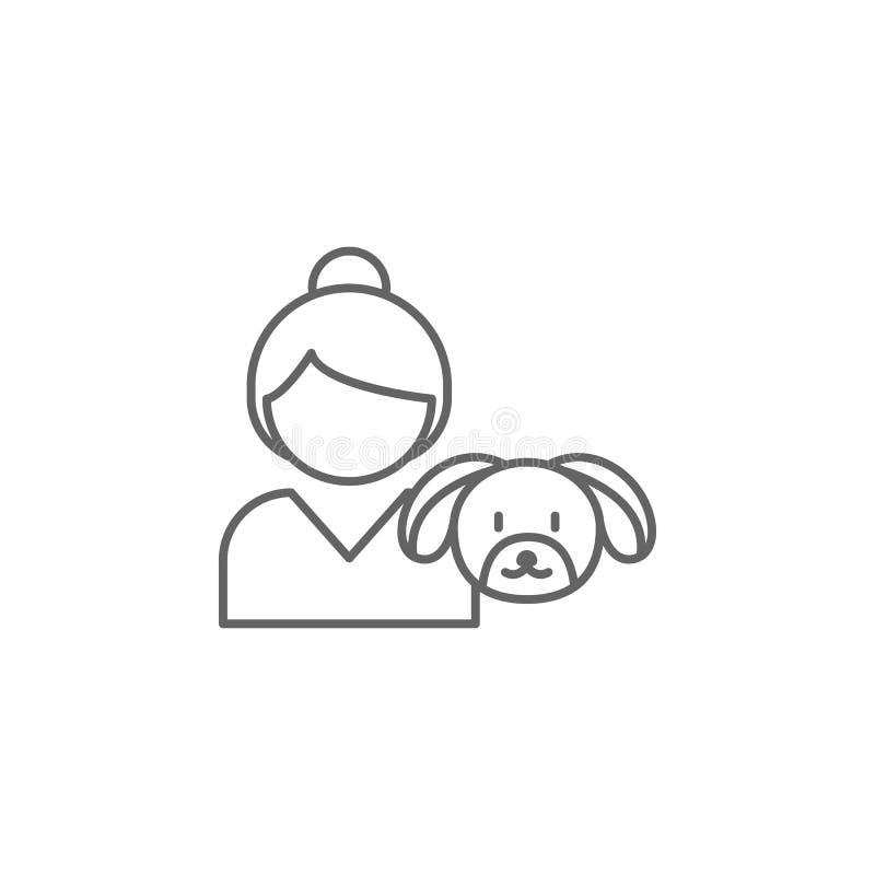 значок плана приятельства собаки девушки Элементы линии значка приятельства Знаки, символы и векторы можно использовать для сети, бесплатная иллюстрация