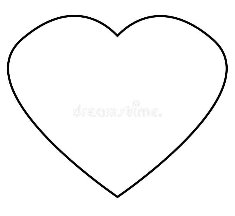 Значок плана сердца на белой предпосылке Плоский стиль outlin сердца иллюстрация штока