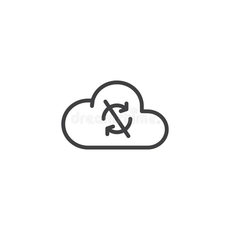 Значок плана синхронизации облака disconnected иллюстрация штока
