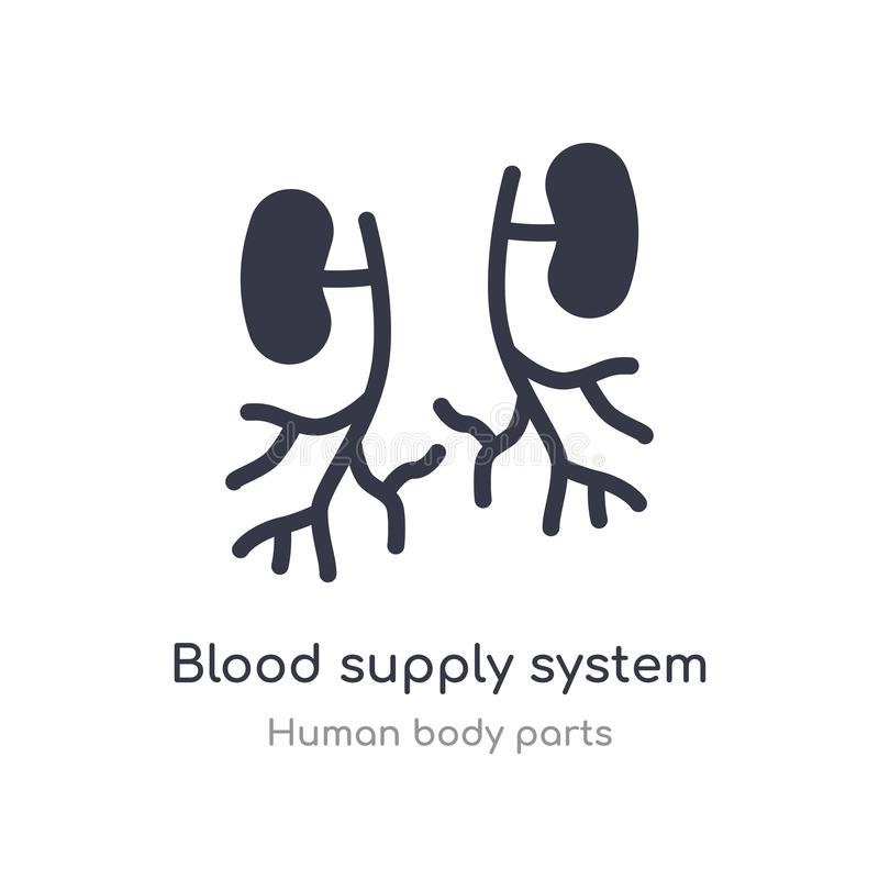 значок плана системы кровоснабжения изолированная линия иллюстрация вектора от человеческого собрания частей тела editable тонкая иллюстрация штока