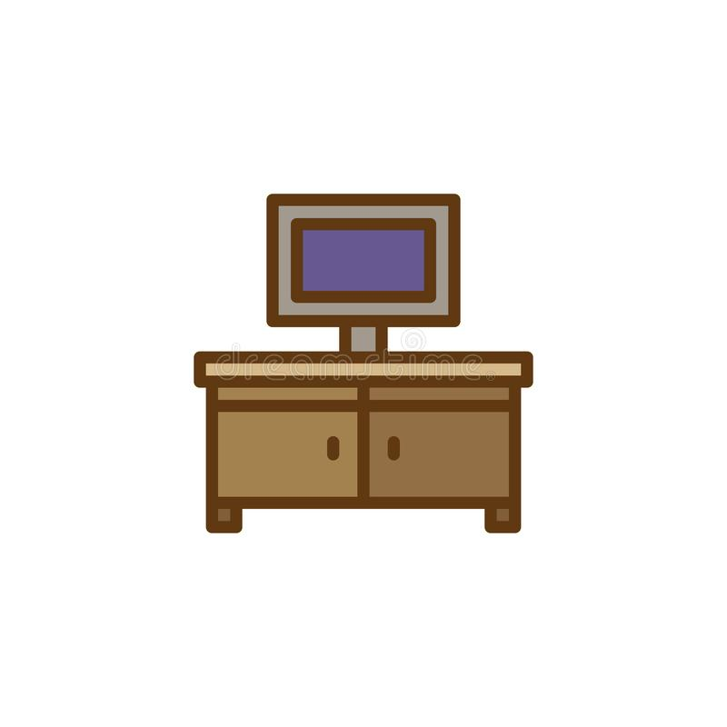 Значок плана ТВ заполненный стойкой иллюстрация штока