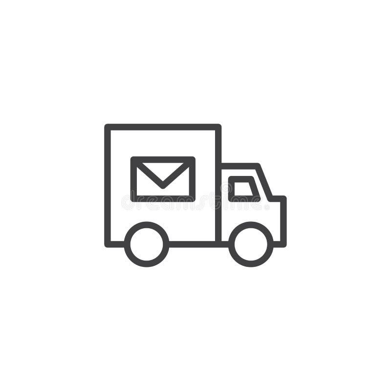 Значок плана тележки доставки почты иллюстрация вектора
