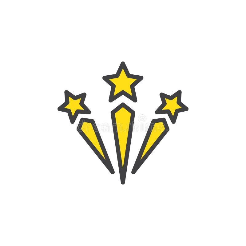 Значок плана торжества заполненный фейерверками иллюстрация штока