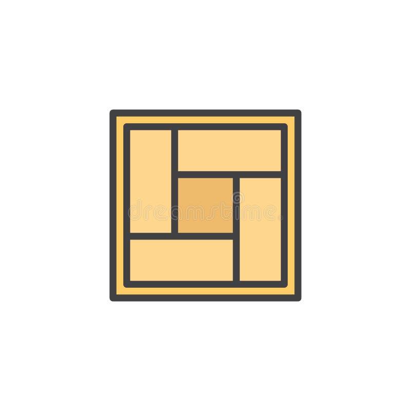 Значок плана циновки Tatami заполненный иллюстрация вектора