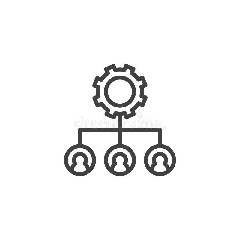 Значок плана шестерни иерархическаяа структура иллюстрация штока