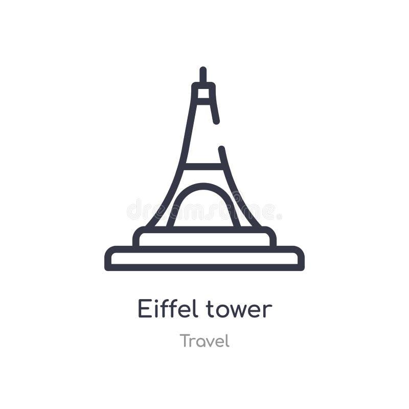 значок плана Эйфелевой башни изолированная линия иллюстрация вектора от собрания перемещения editable тонкий значок Эйфелевой баш бесплатная иллюстрация