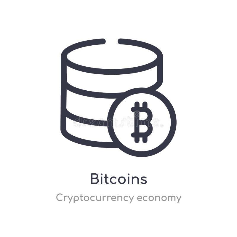 значок плана bitcoins изолированная линия иллюстрация вектора от собрания экономики cryptocurrency editable тонкие bitcoins хода бесплатная иллюстрация