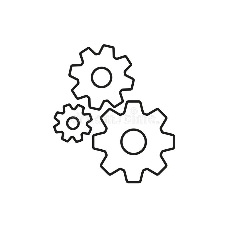 Значок плана Cogs Знак шестерни изолированный на белой предпосылке также вектор иллюстрации притяжки corel бесплатная иллюстрация
