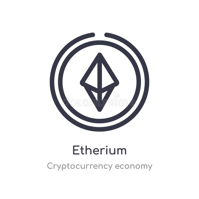 значок плана etherium r editable тонкое etherium хода иллюстрация вектора
