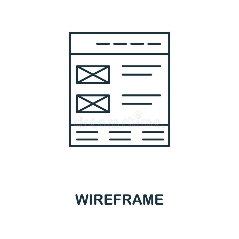 Значок плана Wireframe Простой дизайн от собрания значка развития сети UI и UX Значок wireframe пиксела идеальный Для desig сети иллюстрация штока