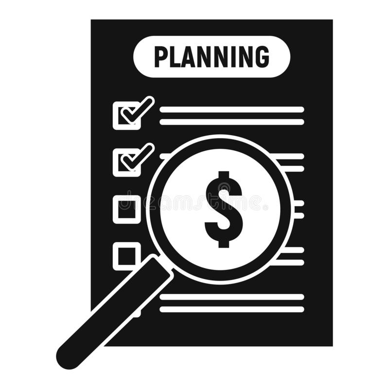 Значок планирования денег, простой стиль иллюстрация вектора