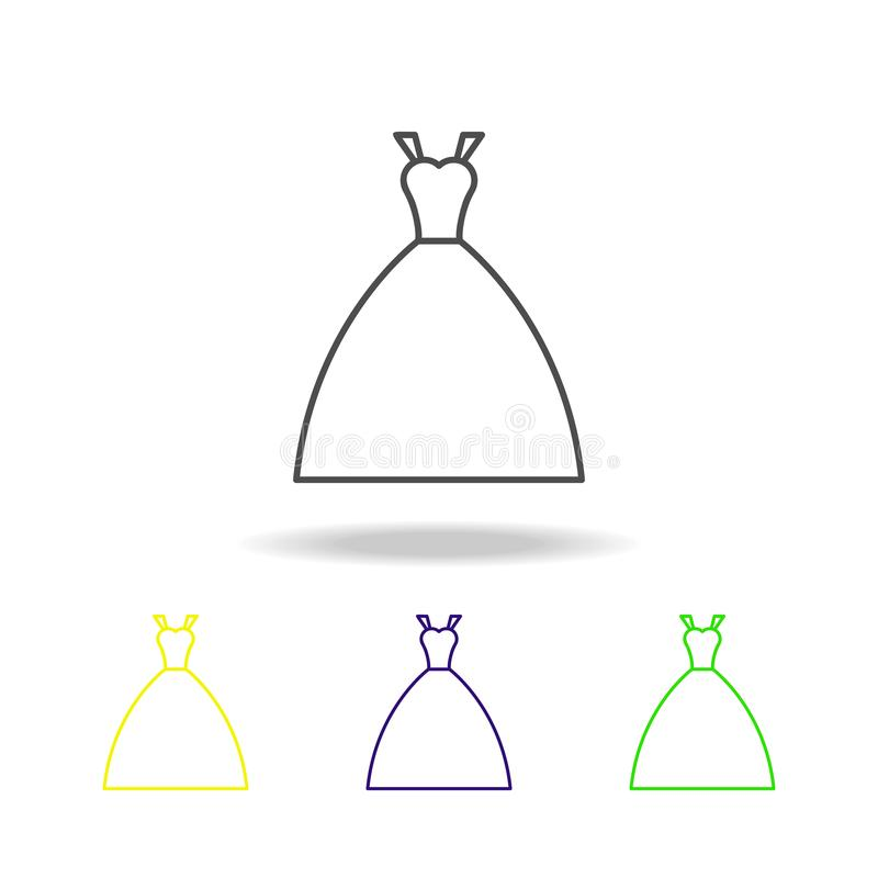 значок платья невесты пестротканый Элемент свадьбы, тонкая линия пестротканый значок можно использовать для сети, логотипа, мобил иллюстрация штока