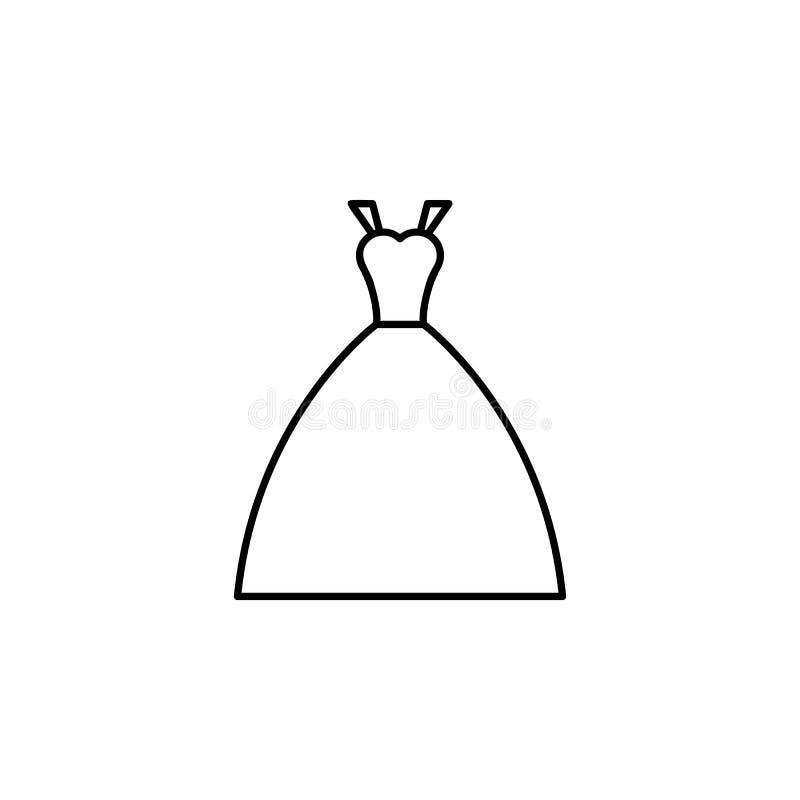 значок платья невесты Элемент свадьбы для передвижной иллюстрации apps концепции и сети Тонкая линия значок для дизайна и develo  бесплатная иллюстрация