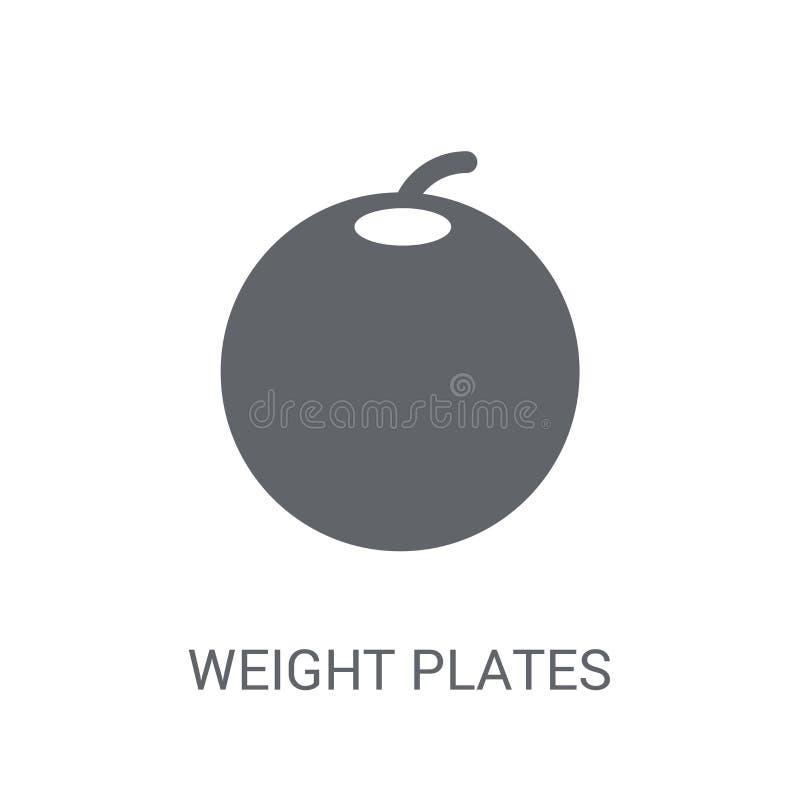 Значок плит веса Ультрамодная концепция логотипа плит веса на белом b иллюстрация штока