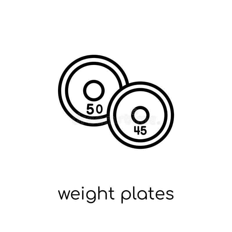Значок плит веса Ультрамодный современный плоский линейный вес вектора plat иллюстрация штока