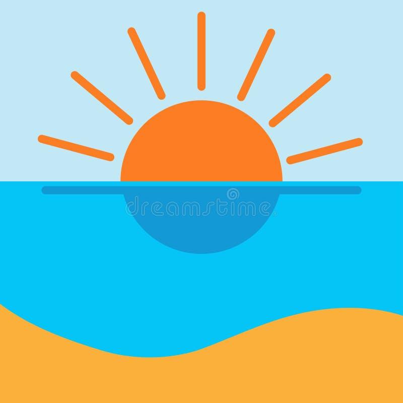 Значок пляжа солнца моря потехи Плоский дизайн бесплатная иллюстрация