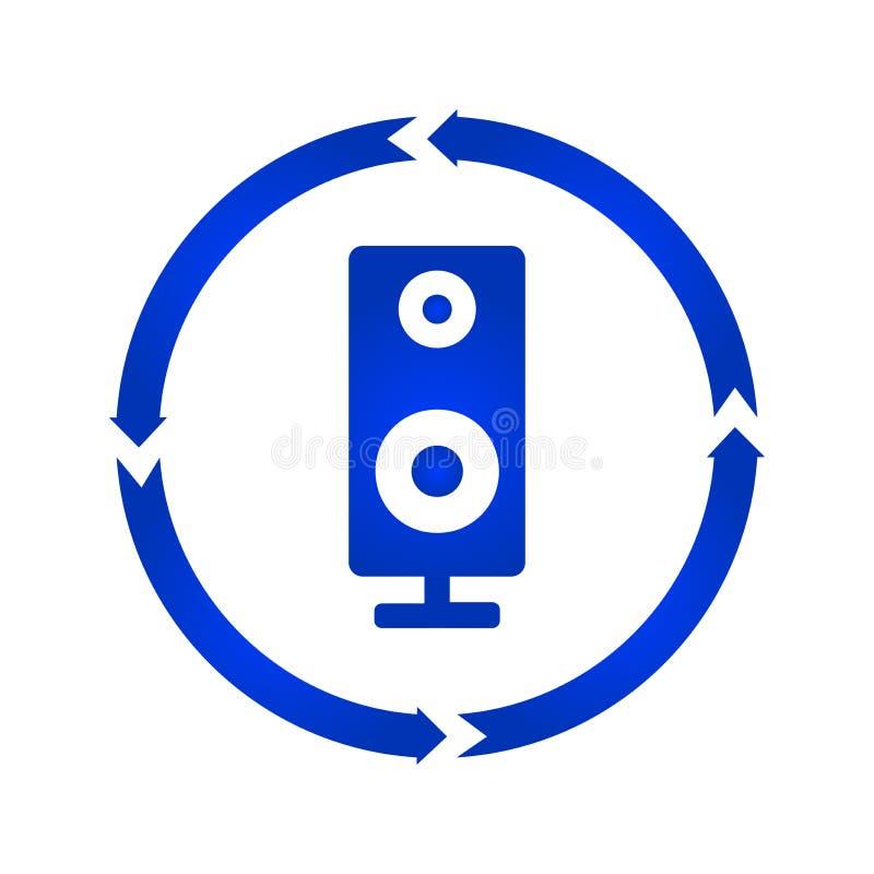 Значок поворота дикторов столбца музыки тональнозвуковой иллюстрация вектора