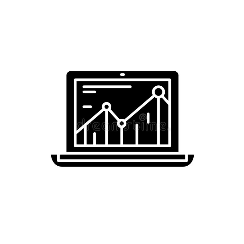 Значок повышения производительности черный, знак вектора на изолированной предпосылке Символ концепции повышения производительнос иллюстрация вектора