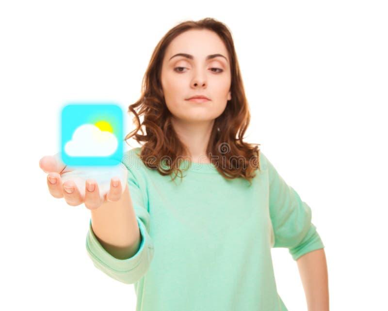 Download Значок погоды на руке женщины Стоковое Фото - изображение насчитывающей удерживание, девушка: 34157092