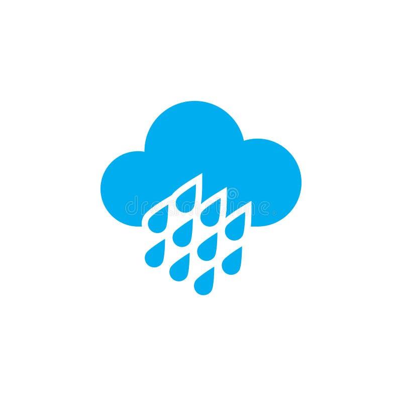 Значок погоды проливного дождя изолированный на белой предпосылке также вектор иллюстрации притяжки corel иллюстрация штока
