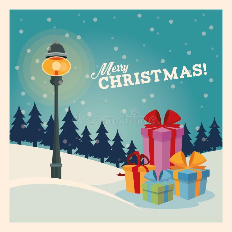 Значок подарков С Рождеством Христовым дизайн по мере того как вектор свирли предпосылки декоративный графический стилизованный р иллюстрация вектора