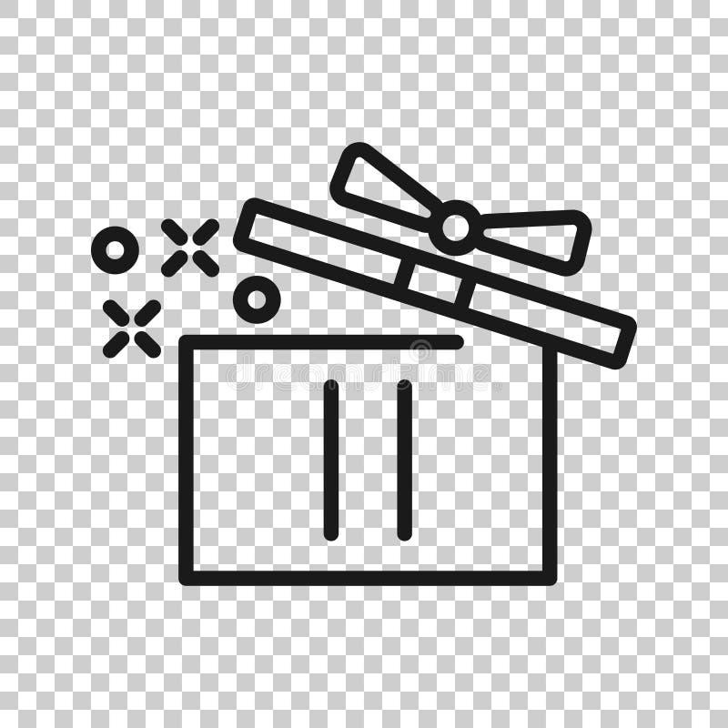 Значок подарочной коробки в прозрачном стиле Волшебная иллюстрация вектора случая на изолированной предпосылке Присутствующая кон иллюстрация вектора
