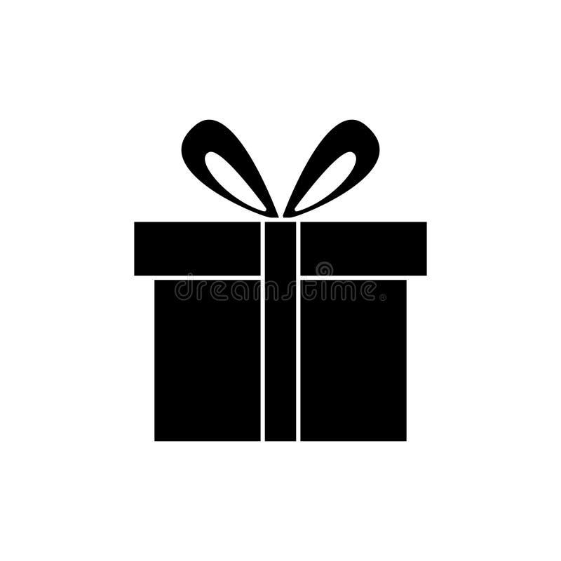 Значок подарочной коробки милый, иллюстрация вектора, черный знак на изолированной предпосылке иллюстрация вектора