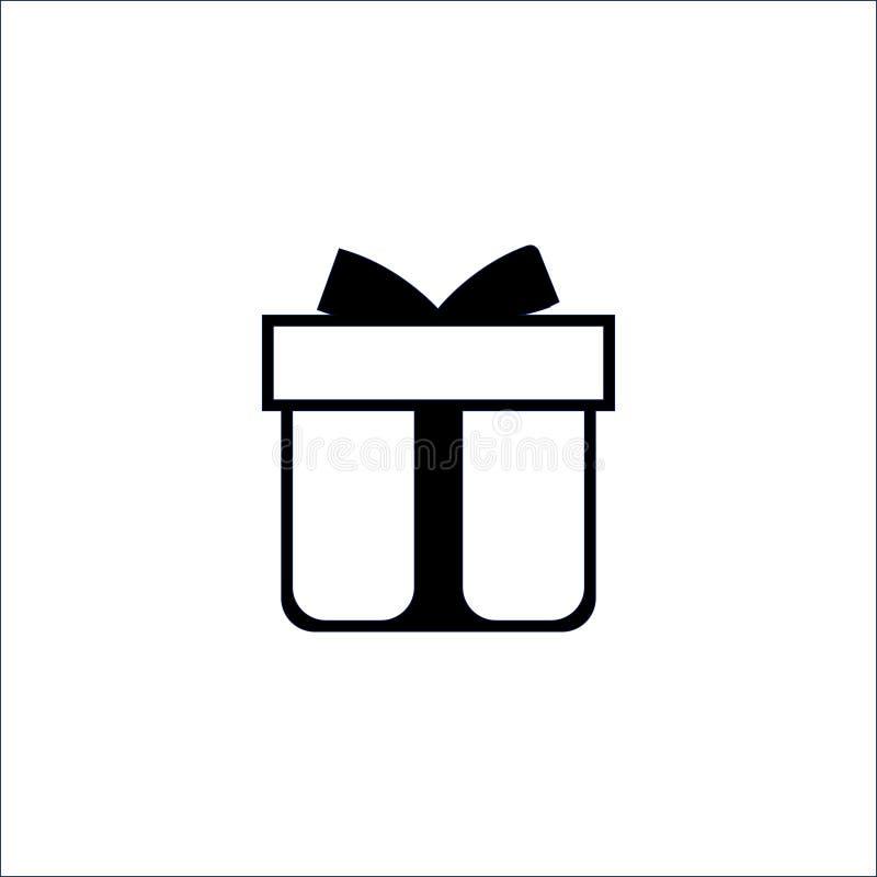 Значок подарочной коробки на белой предпосылке r иллюстрация вектора