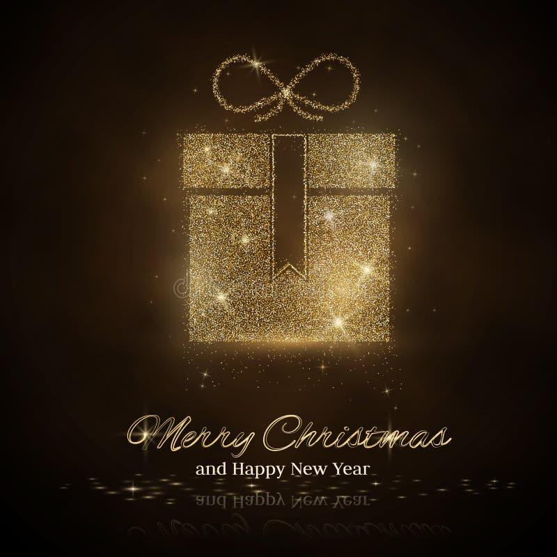 Значок подарочной коробки с sparkles золота и ярким блеском, светом зарева, яркими sequins, сусалью искры, изолированным знаком п иллюстрация вектора