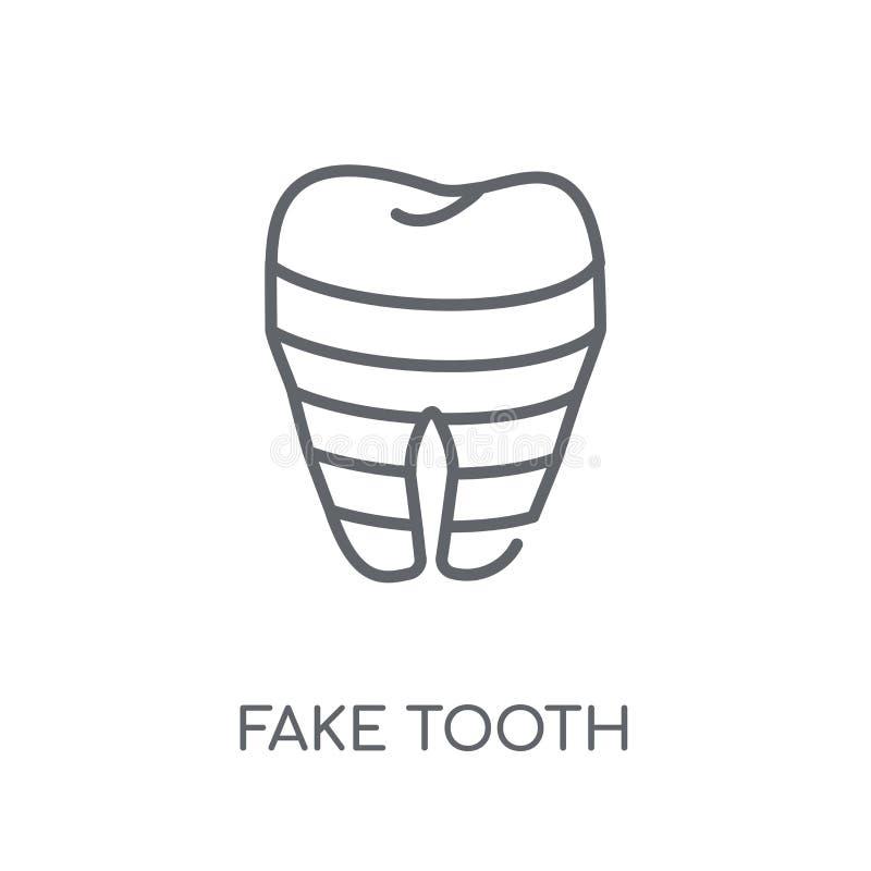 Значок поддельного зуба линейный Концепция o логотипа зуба современного плана поддельная иллюстрация вектора
