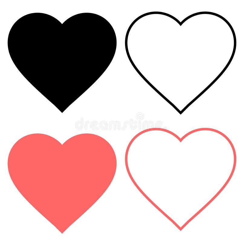 Значок подобия и сердца Видео в реальном маштабе времени потока, болтовня, подобия Социальные сети как красные кнопки сети сердца бесплатная иллюстрация