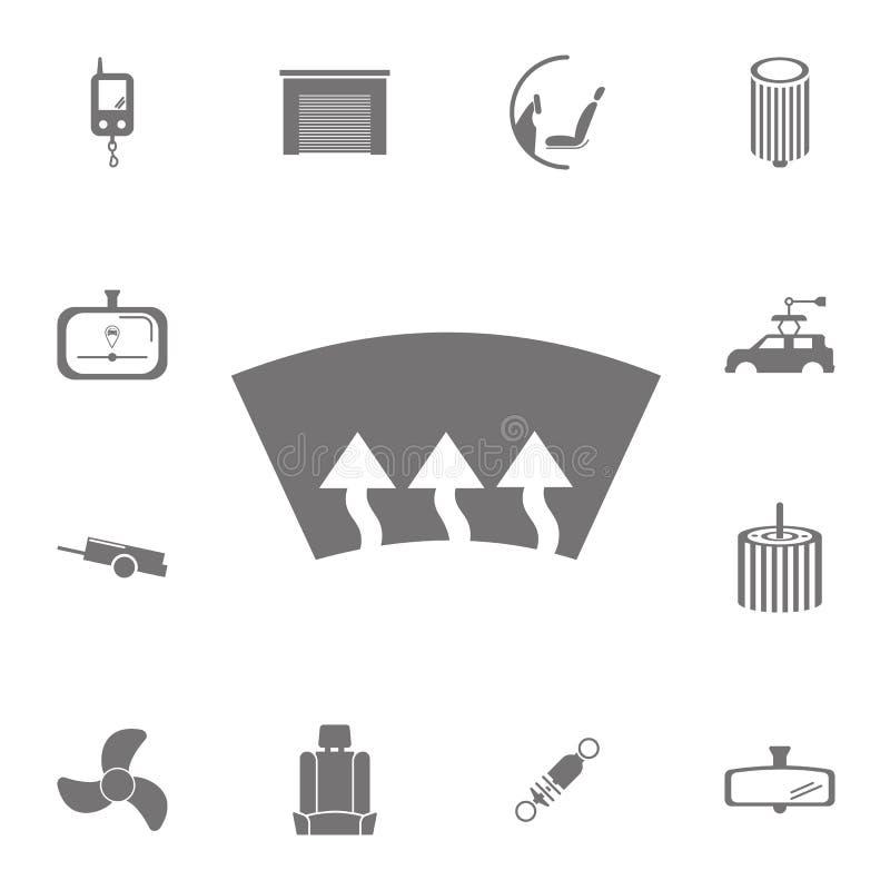 Значок подогревателя окна автомобиля Комплект значков ремонта автомобиля Знаки собрания, простые значки для вебсайтов, веб-дизайн иллюстрация штока